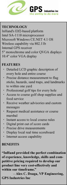 GPS Industries Inc. has developed patented, GPS hand-held and cart-mounted display units for the worldwide golfing industry.